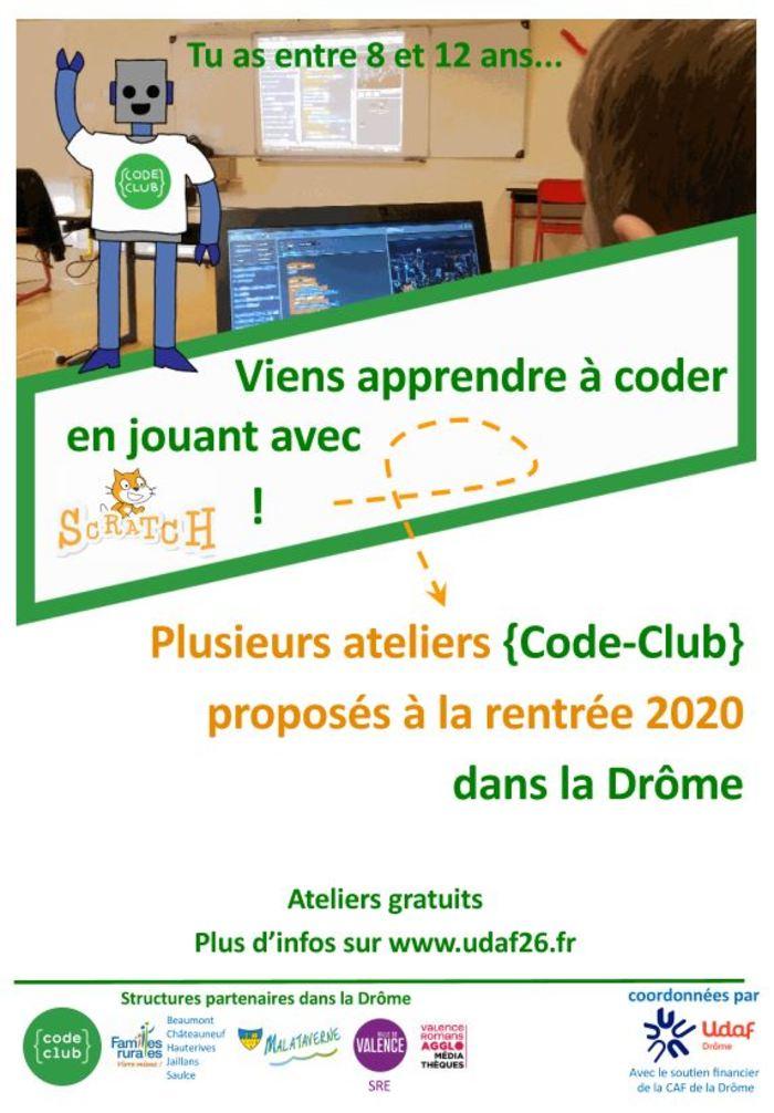 Ateliers Code club pour les 8-12 ans en plusieurs lieux du département