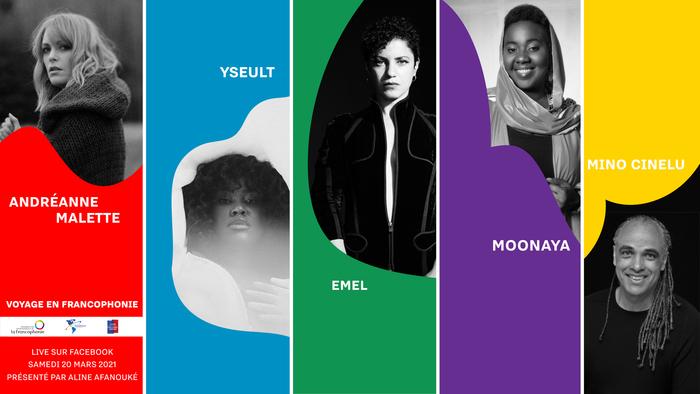 Concert virtuel gratuit avec les chanteurs et musiciens: Emel, Andréanne Malette, Yseult, Moonaya et Mino Cinelu