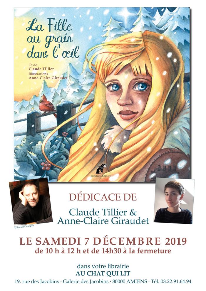 """Claude Tillier & Anne-Claire Giraudet seront en dédicace et vous présenteront """"La Fille au grain dans l'œil"""" un très joli conte de Noël..."""