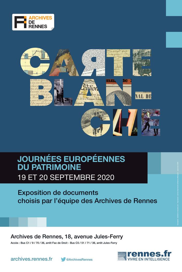 Journées du patrimoine 2020 - Carte blanche - Exposition de documents choisis par l'équipe des Archives de Rennes