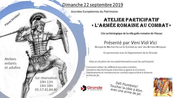 Journées du patrimoine 2019 - Atelier participatif «l'armée romaine au combat»