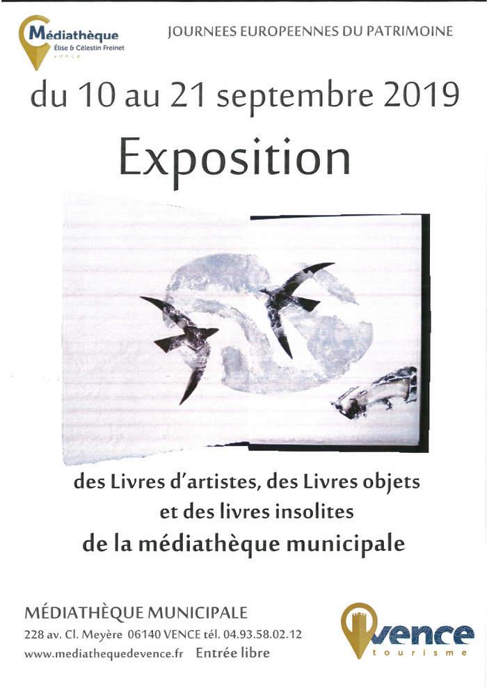Journées du patrimoine 2019 - Exposition inédite des livres d'artistes, livres objets et livres insolites des fonds de la Médiathèque de Vence