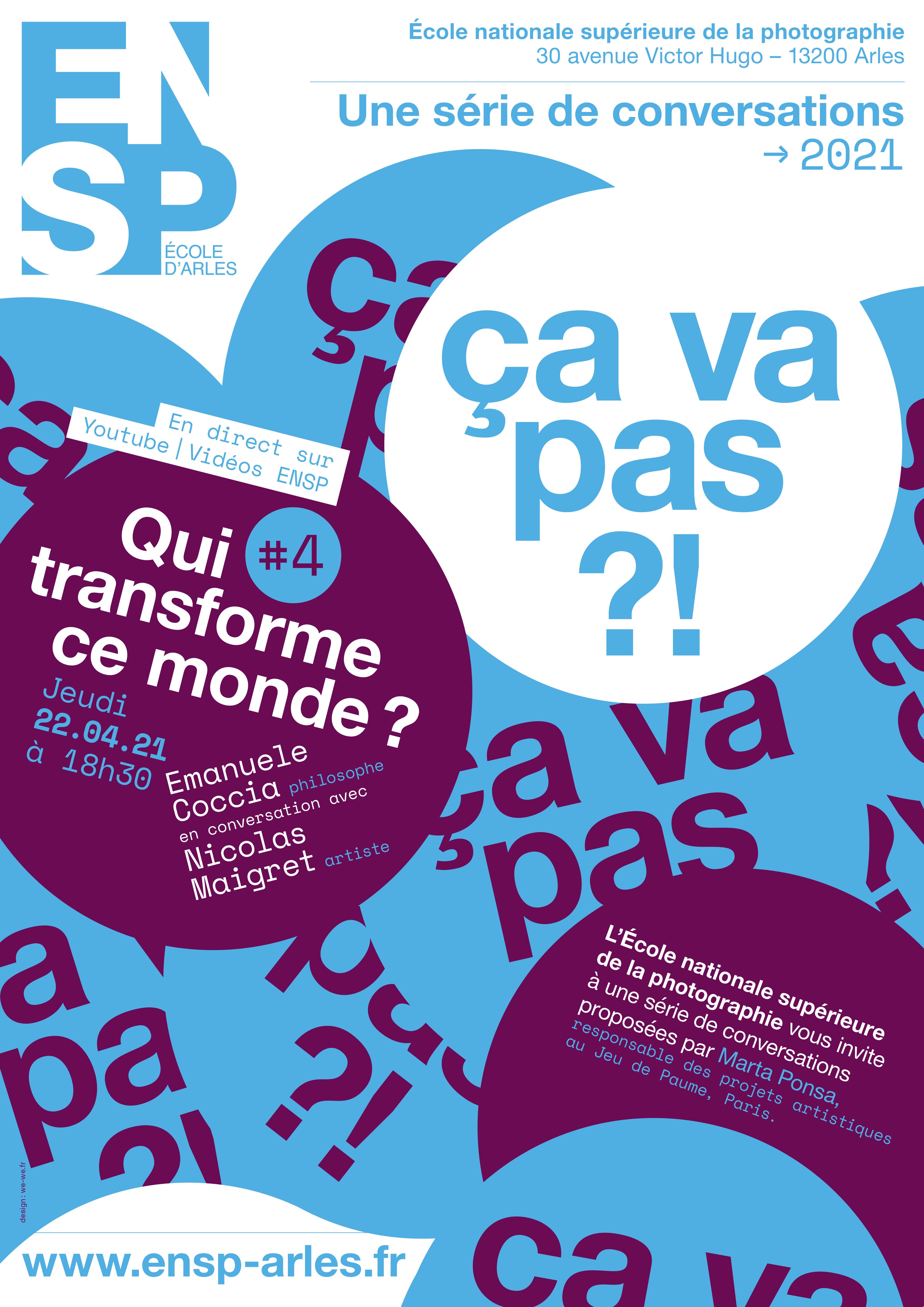 L'ENSP vous invite à une série de conversations proposées par Marta Ponsa, responsable des projets artistiques au Jeu de Paume, Paris | #4 avec Emanuele Coccia et Nicolas Maigret