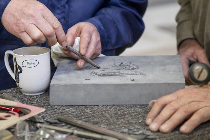 Journées du patrimoine 2019 - Atelier de taille de pierre aux Sources d'Hercule