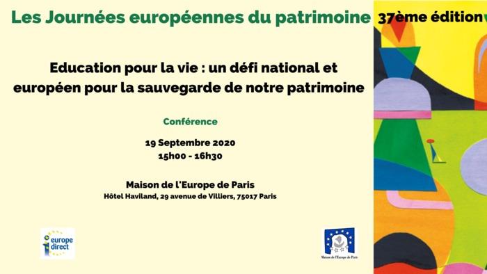 Journées du patrimoine 2020 - Conférence : « Education pour la vie : un défi national et européen pour la sauvegarde de notre patrimoine »