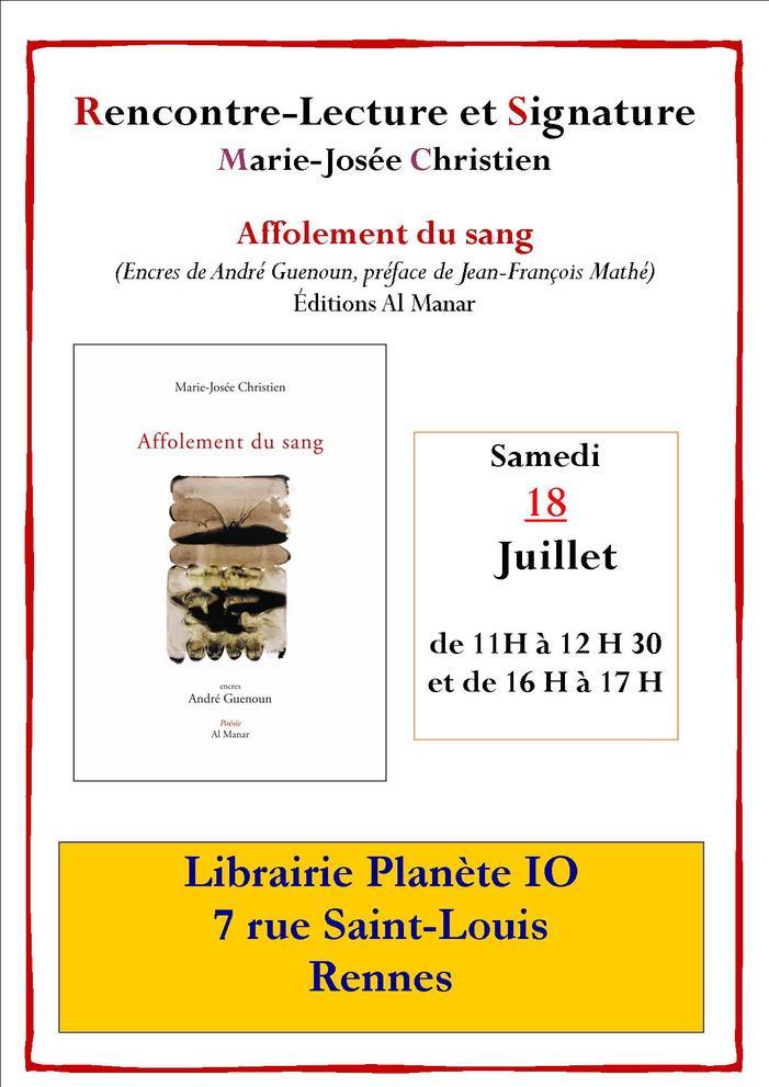 """Marie-Josée Christien présentera son livre de poésie """"Affolement du sang"""" (Al Manar) à la librairie Planète Io à Rennes."""