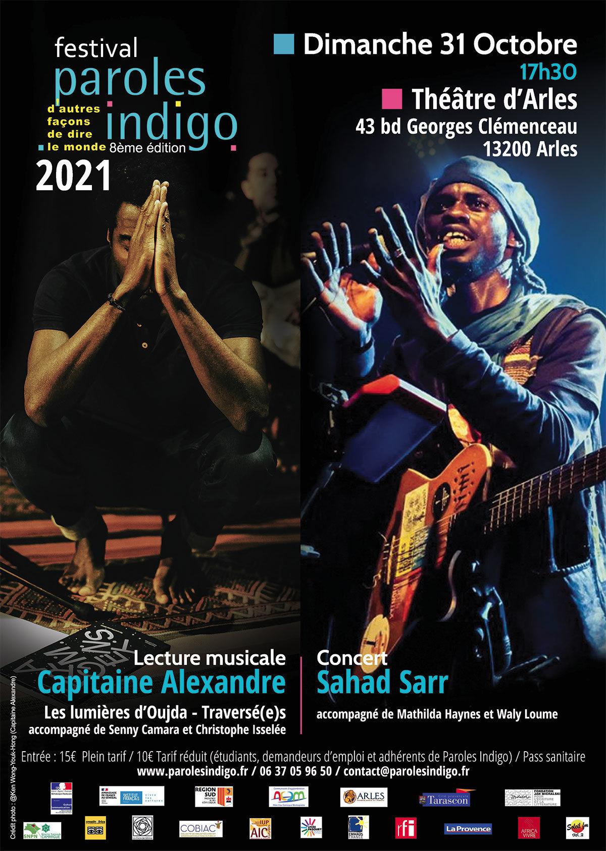 Feu d'artifice musical et littéraire pour clôturer la 8ème édition du festival Paroles Indigo. Marc-Alexandre Oho Bambe et Saad Sarr enflammeront la scène accompagnés de leurs musiciens.