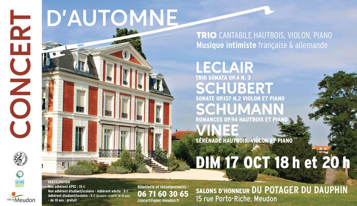 Concert de musique de chambre : trio Hautbois, Violon, Piano,