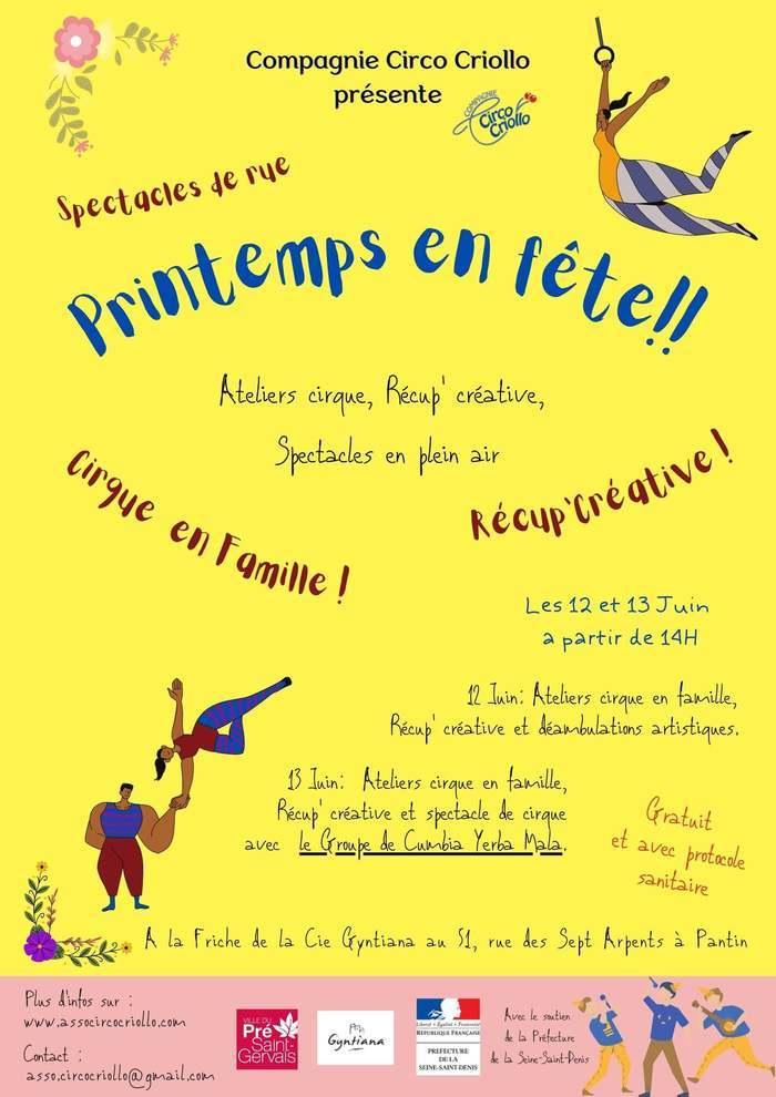 Ateliers Cirque en Famille, Récup Créative, Spectacles de rue, déambulations, music latin américaine avec le Group Yerba Mala.