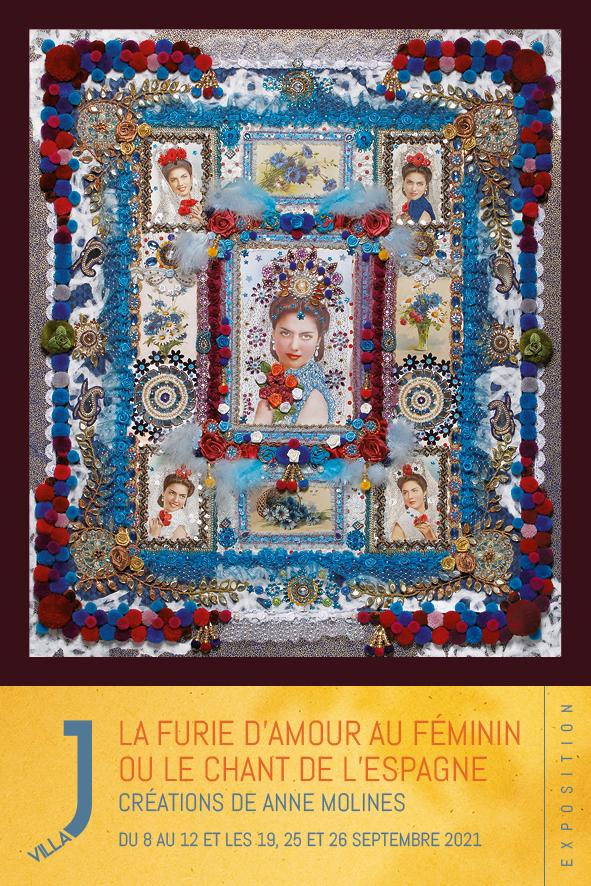 Artiste peintre, plasticienne - Exposition de ses créations inspirées de l'Andalousie et de l'Inde, entre Orient et Occident, mêlant l'abondance des couleurs à la richesse des tissus.