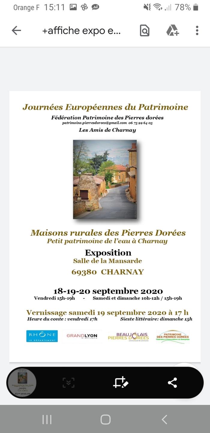 Journées du patrimoine 2020 - Expo photos sur les maisons rurales des Pierres Dorées et objets du petit patrimoine de