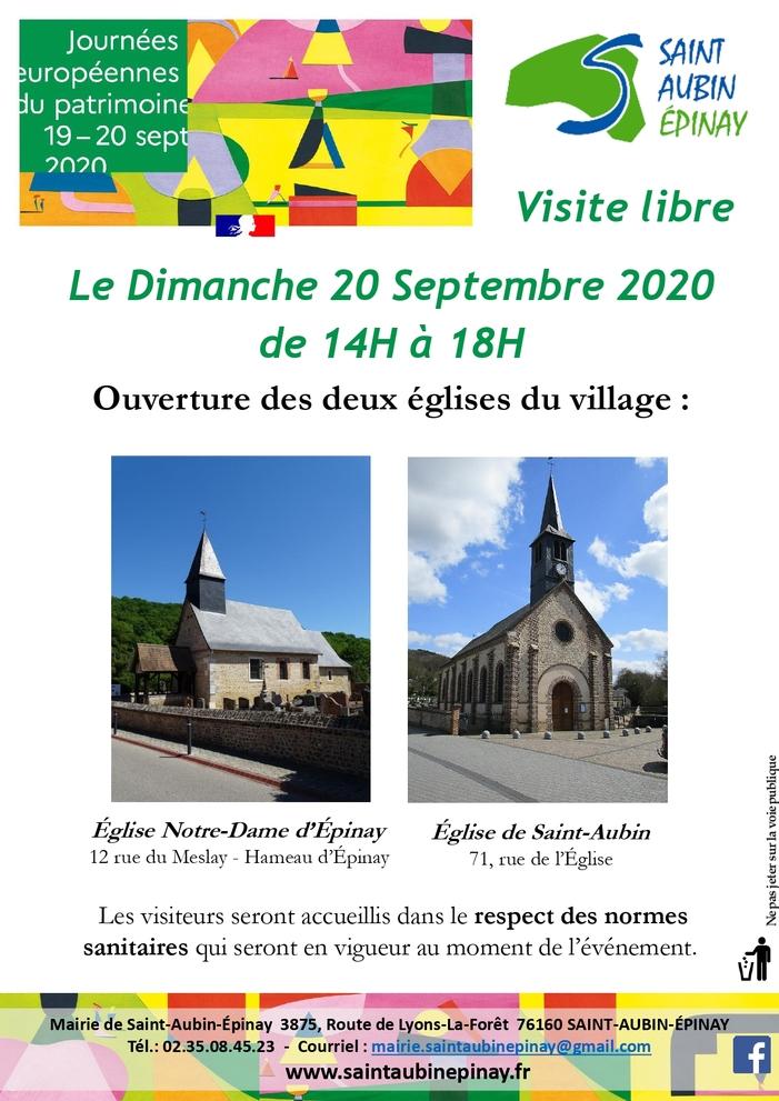 Journées du patrimoine 2020 - Visite libre des deux églises de St-Aubin-Epinay