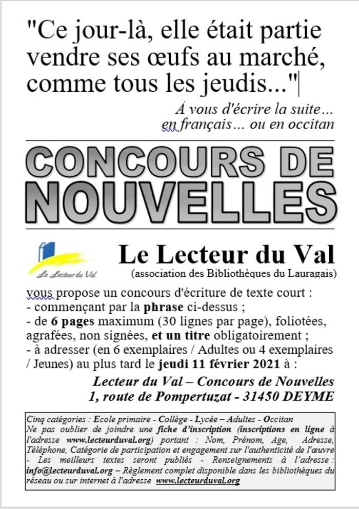 Concours de nouvelles, en français ou en occitan, jusqu'au 11 février 2021