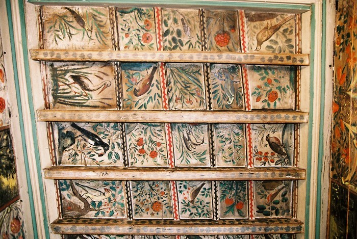 Visite libre du bureau du maire et de son plafond peint orné de végétaux et d'animaux.