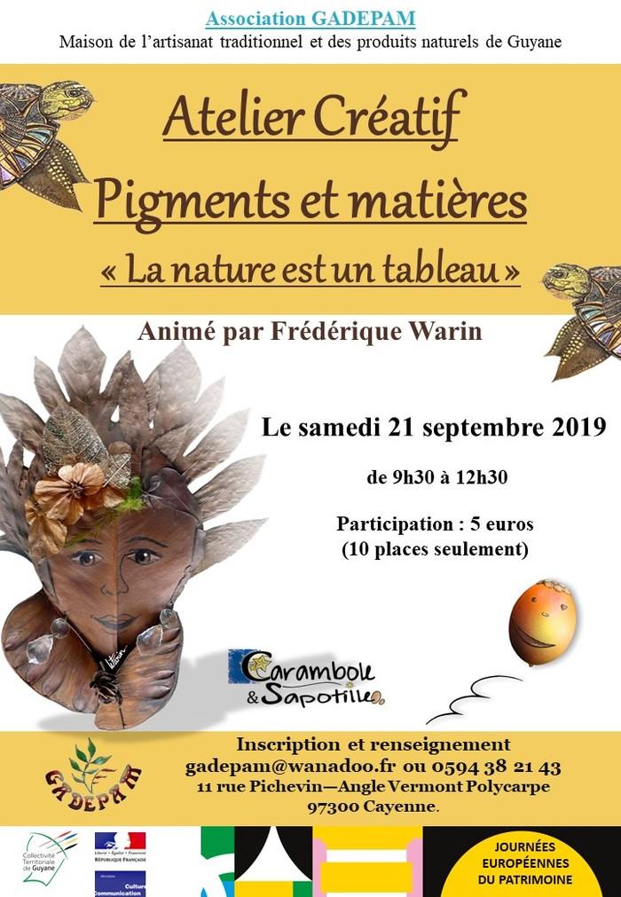 Journées du patrimoine 2019 - Atelier créatif - Pigments et Matières -
