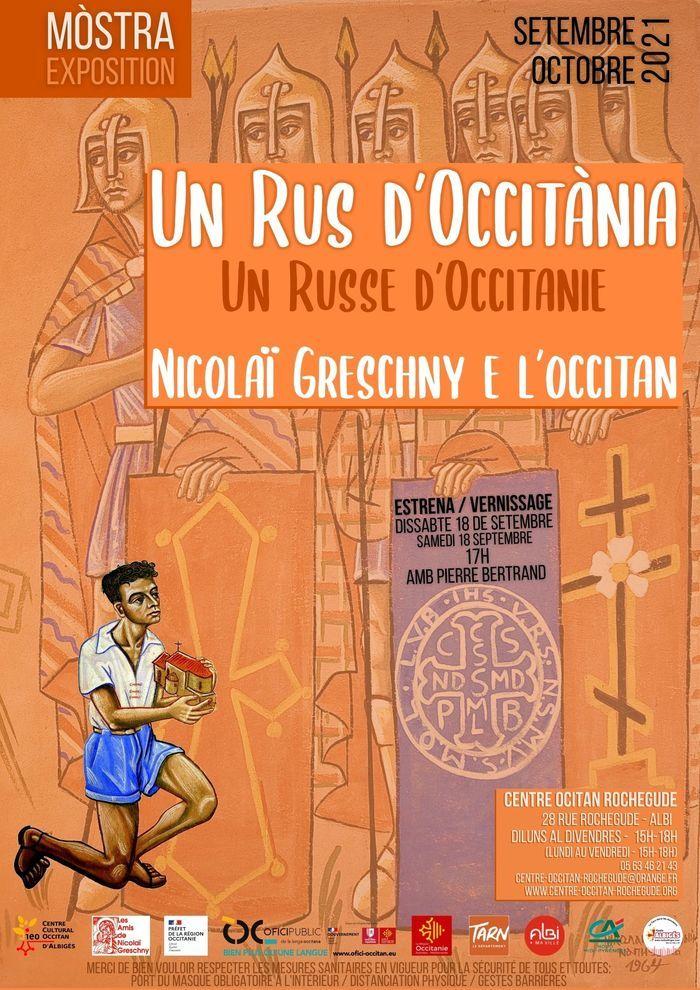 """Vernissage de l'exposition """"Greschny et l'occitan"""" avec Pierre Bertrand."""