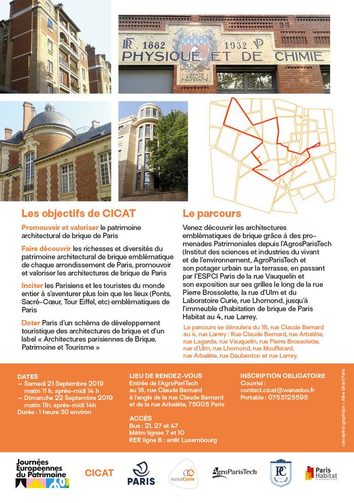 Journées du patrimoine 2020 - Les chemins des architectures emblématiques de brique du cinquième arrondissement de Paris