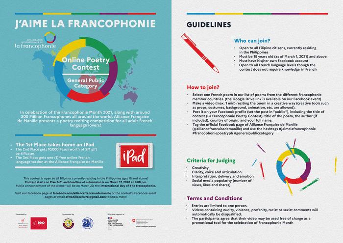 Les participants sont appelés à choisir leur poésie francophone préférée, à la réciter et l'interpréter en une vidéo de maximum 1 minute.