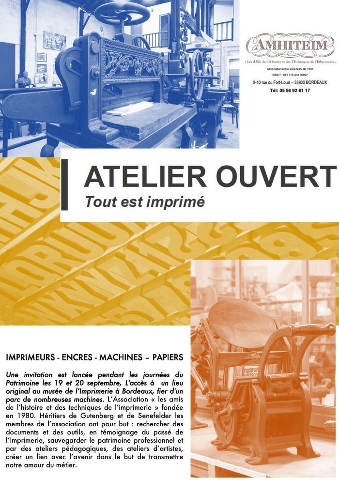 Journées du patrimoine 2020 - Annulé | Atelier Ouvert : machines et savoir-faire de l'histoire de l'imprimerie