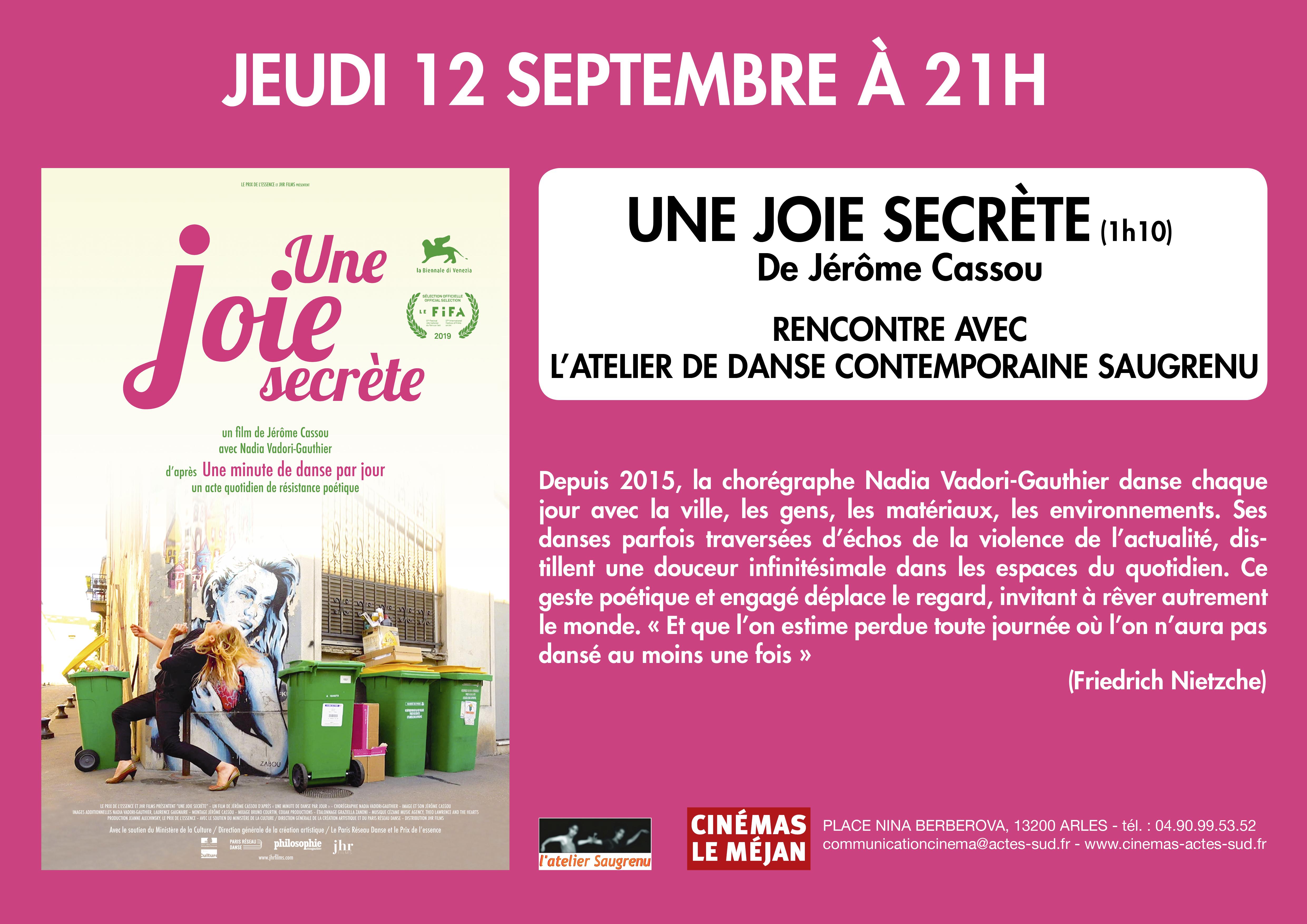 """Pour la sortie du film """"Une joie secrète"""", le cinéma le Méjan organise une rencontre avec l'Atelier Saugrenu, association de danse arlésienne."""
