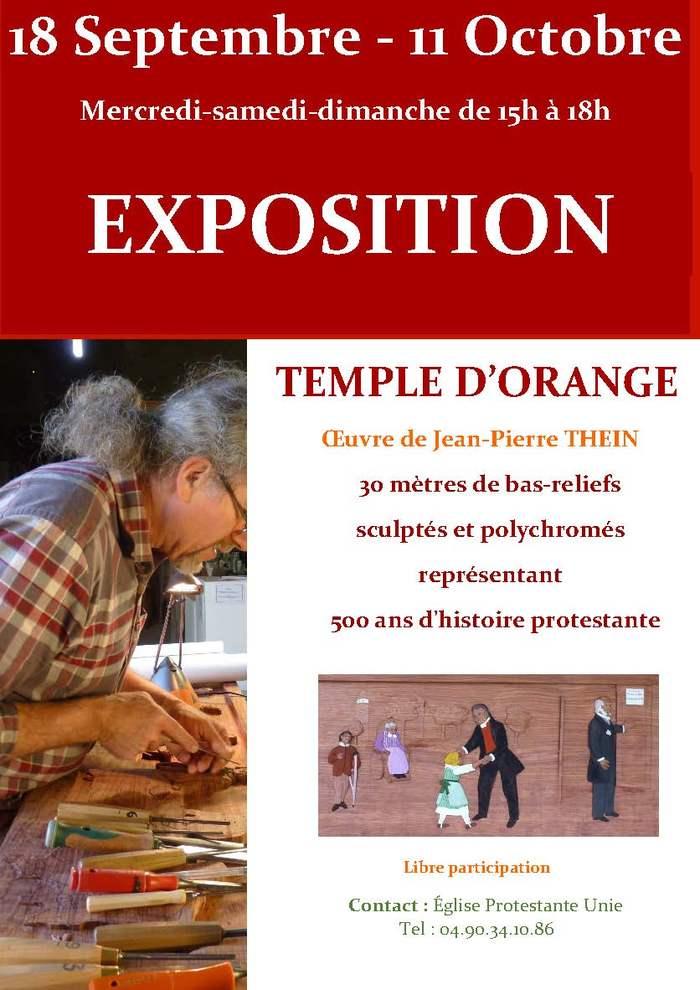 Journées du patrimoine 2020 - Le temple Pontillac sera ouvert au public. Exposition de bas-relief sur l'histoire du protestantisme.