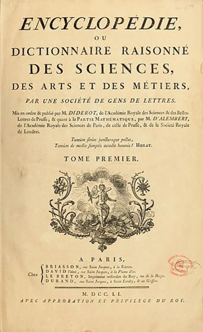 Journées du patrimoine 2020 - Conférence : l'encyclopédie de Diderot (et d'Alembert?) : monument et arme de combat