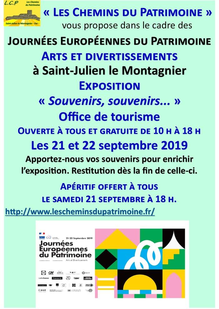 Journées du patrimoine 2019 - « Arts et divertissements » - Souvenirs, souvenirs... à Saint-Julien le Montagnier -