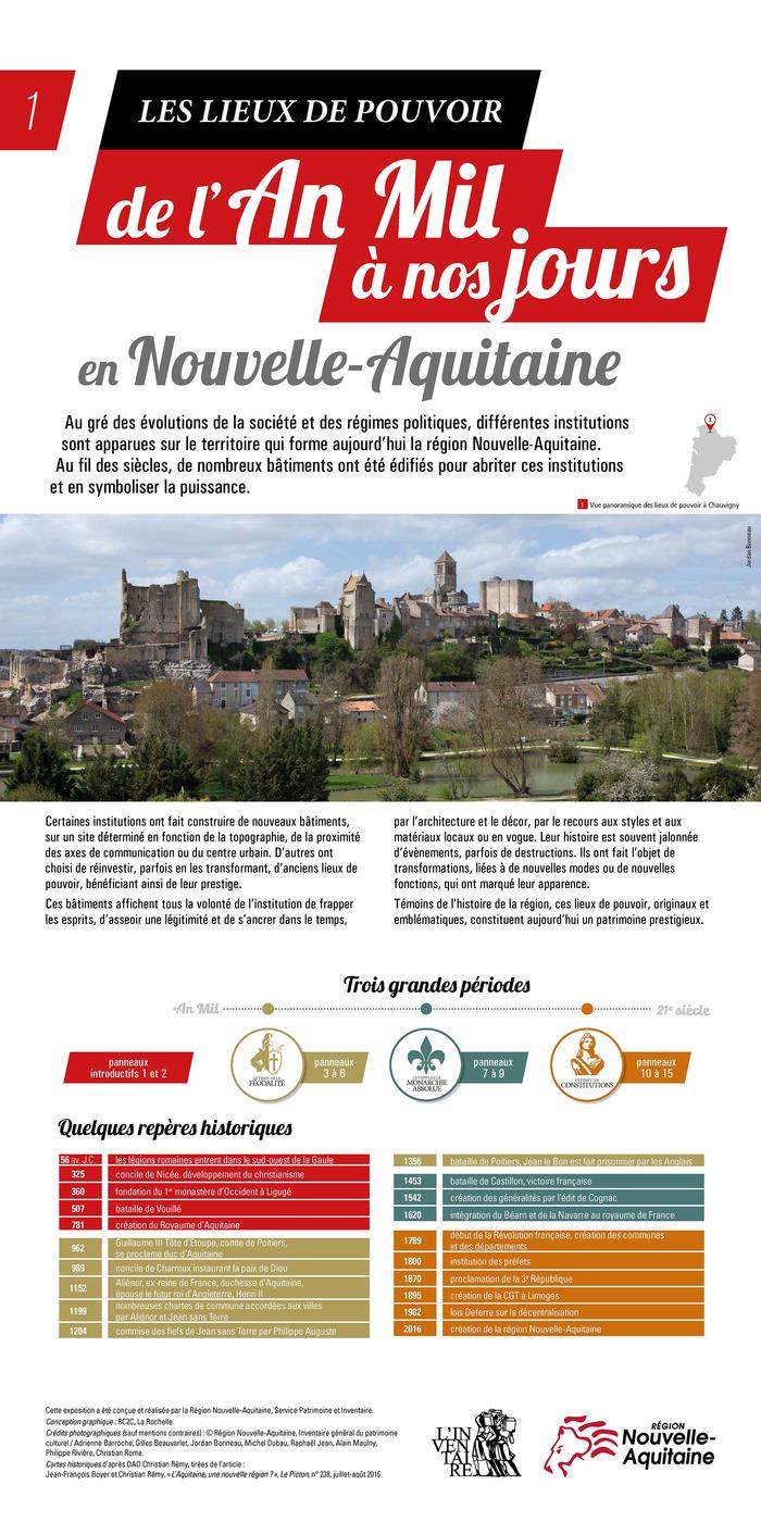 Journées du patrimoine 2019 - Exposition  : Les lieux de pouvoir de l'an mil à nos jours en Nouvelle-Aquitaine