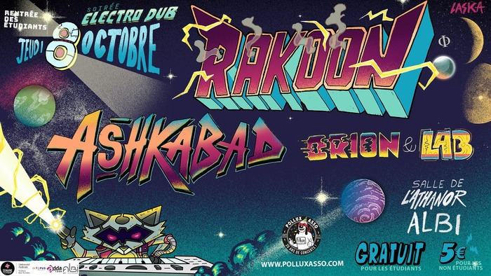 Jeudi 8 octobre 2020 à 20h30 : Rakoon + Ashkabad + Orion & Lab + Thrill Dub Resonance