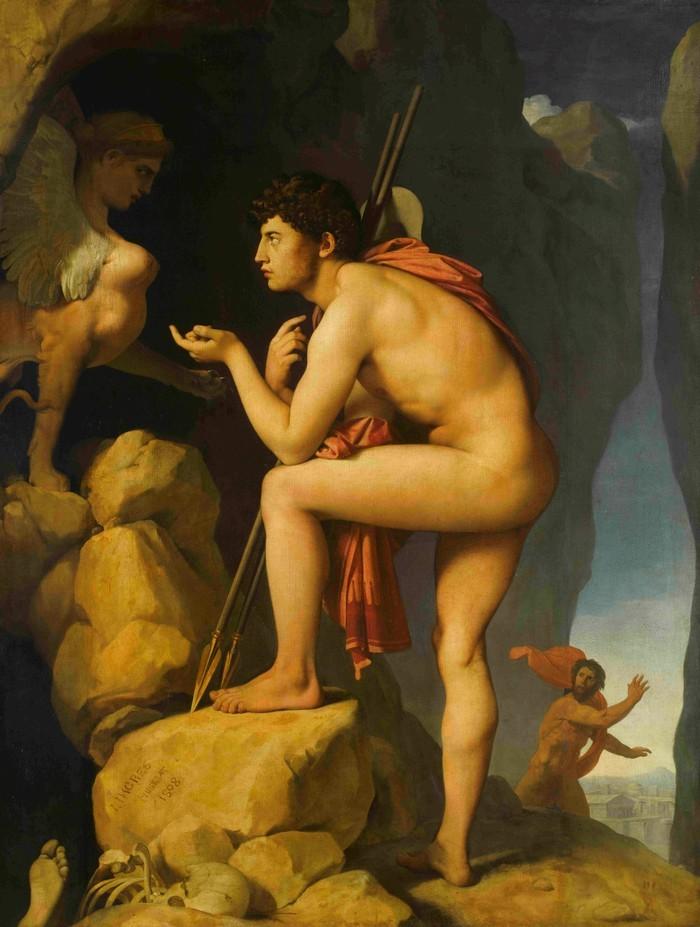 Œdipe explique l'énigme du sphinx de Ingres