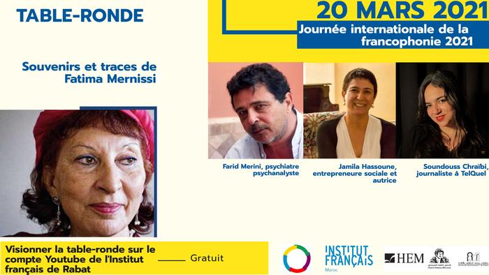 Table-ronde en hommage à la sociologue Fatema Mernissi par Farid Merini, Jamila Hassoune et Soundouss Chraïbi