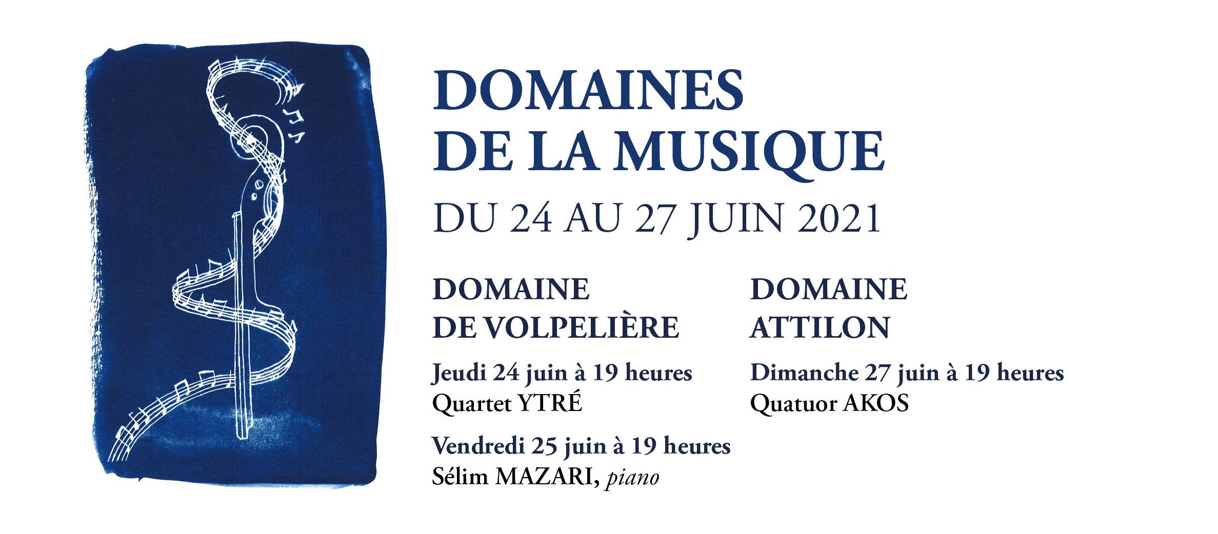 Concerts exceptionnels organisés par l'Association du Méjan en plein air au Domaine de Volpelière et au Domaine Attilon