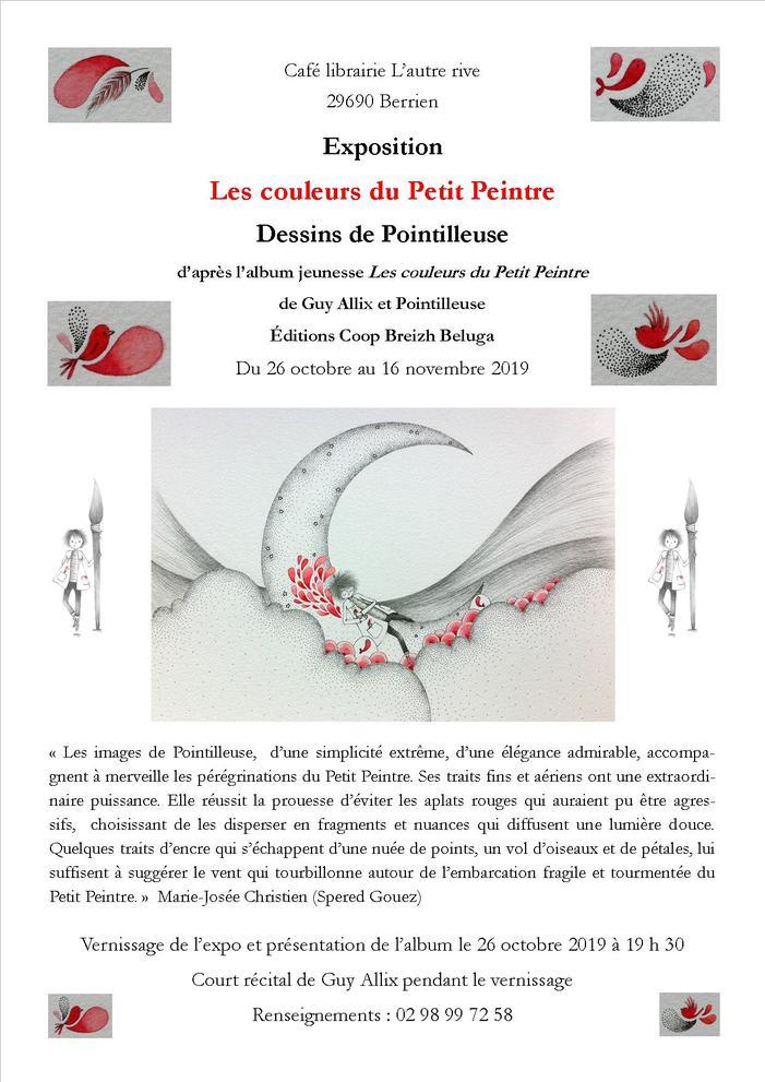 Mini récital, présentation de l'album et signature de Guy Allix au vernissage de l'exposition des illustrations de Pointilleuse.
