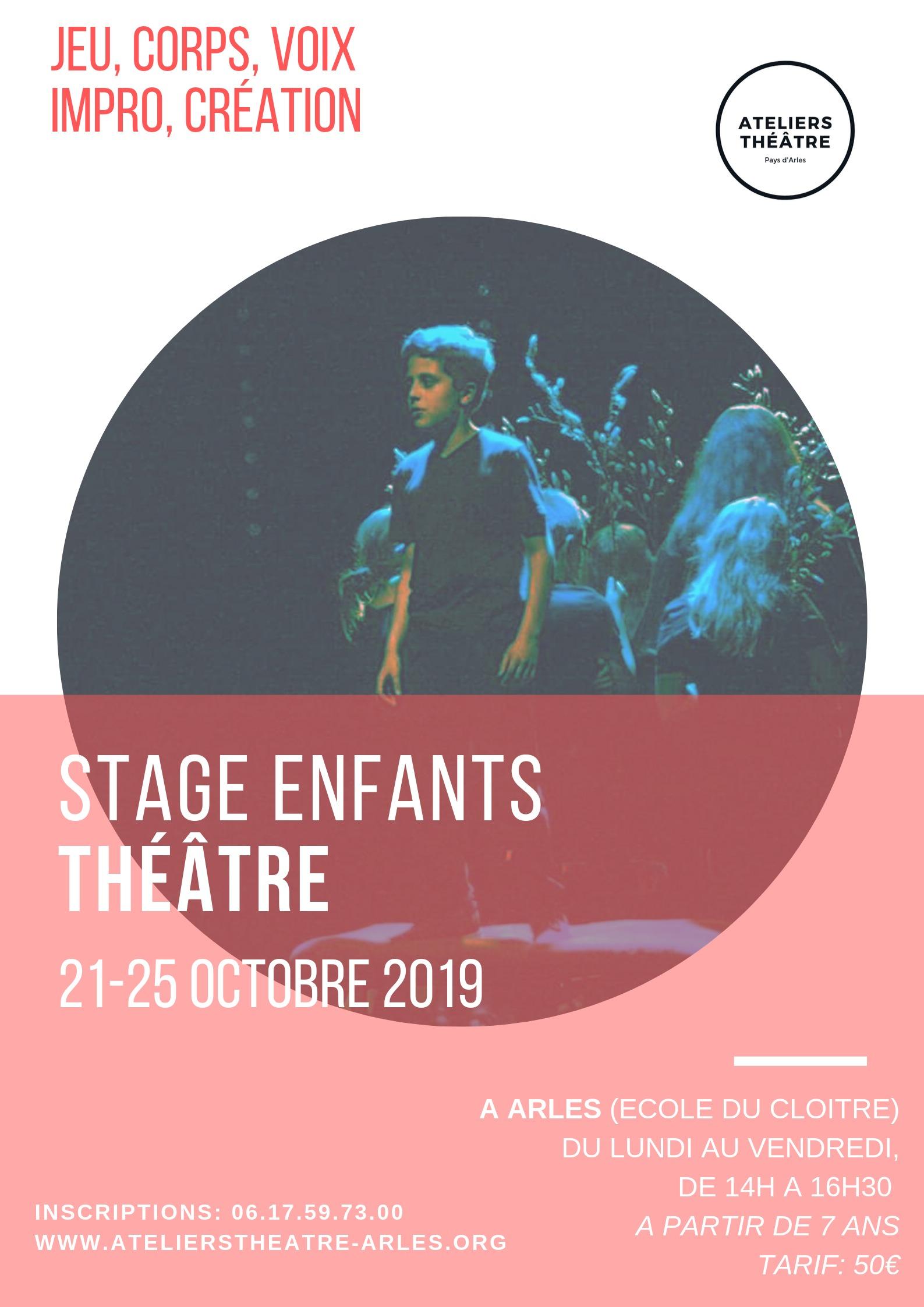 Stage de (re)découverte du théâtre, travail de voix, corps, personnage, émotions, confiance en soi, découverte de l'autre.