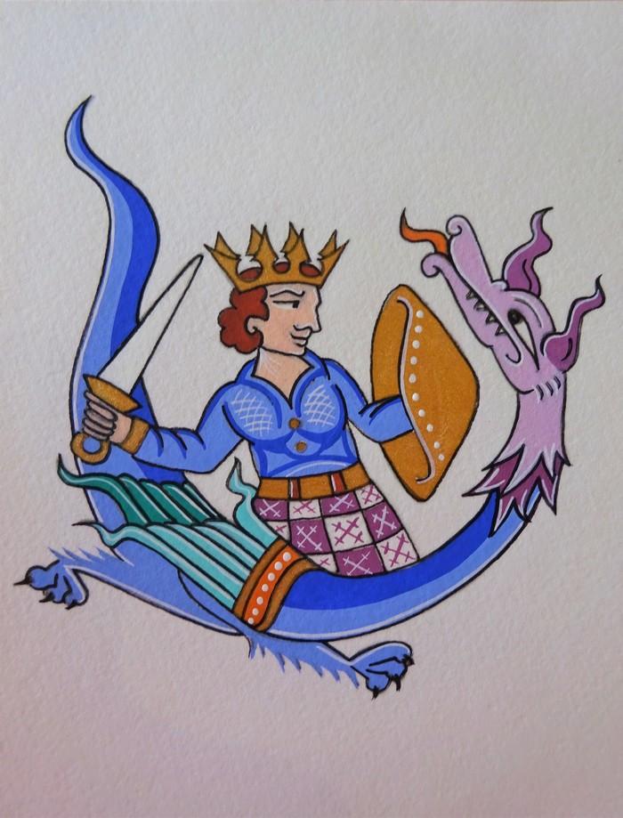 Journées du patrimoine 2020 - Atelier enluminures — Le Prince Vaillant et le dragon