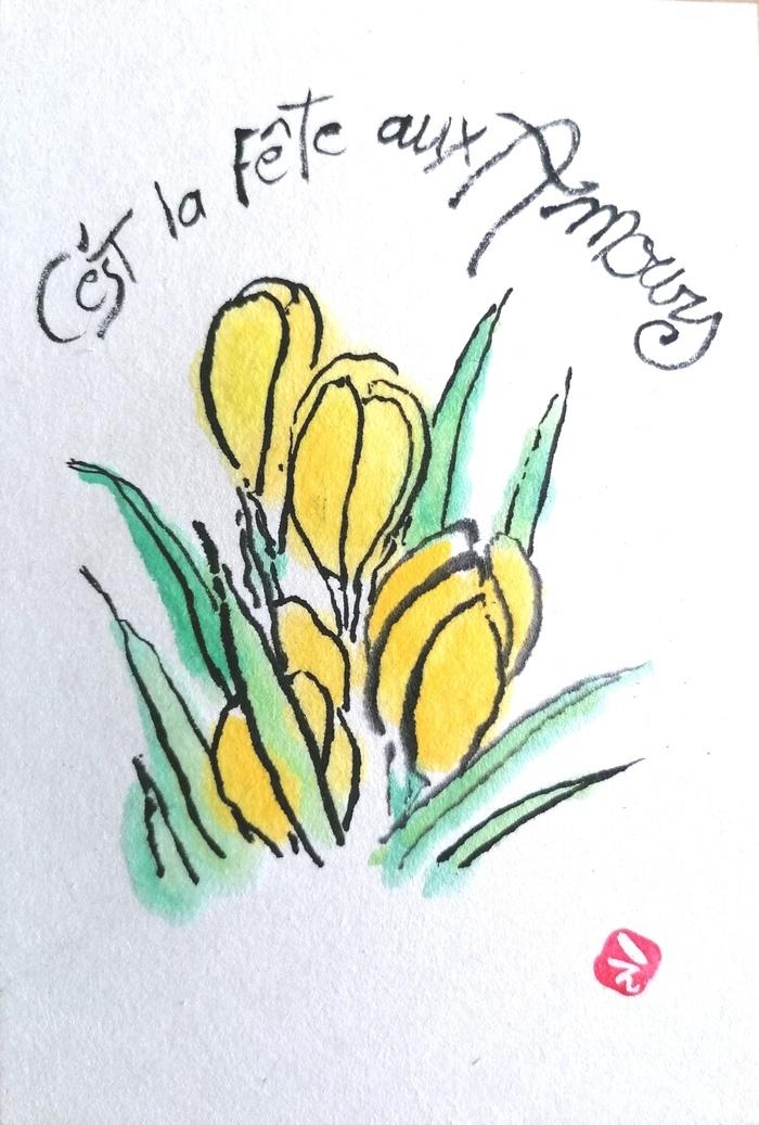 Initié par Koike Kunio, l'etegami consiste en une carte peinte d'un motif accompagné d'un message que l'on envoie à son entourage. Créez votre carte sur le thème des légumes de saison.