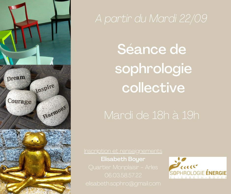 Tous les mardis à partir du 22/09 à 18h, séance de sophrologie collective au 13 avenue de Lattre de Tassigny à Arles.