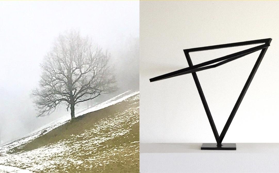 Le graphisme des sculptures de métal de Maurice Hache joue avec les lignes noueuses vues par la photographe Sandra Affentranger...