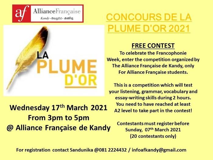 Un concours de langue française pour les étudiants des Alliances Françaises lors de la Semaine de la langue française et de la Francophonie en mars 2020.