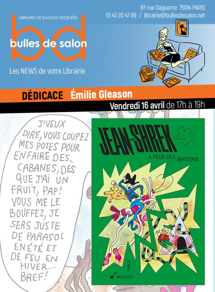 """À l'occasion de la sortie de """"Jean-Shrek a peur des maisons"""", son nouvel album à paraître chez L'Articho, Émilie Gleason sera présente à la librairie pour dédicacer ses livres !"""