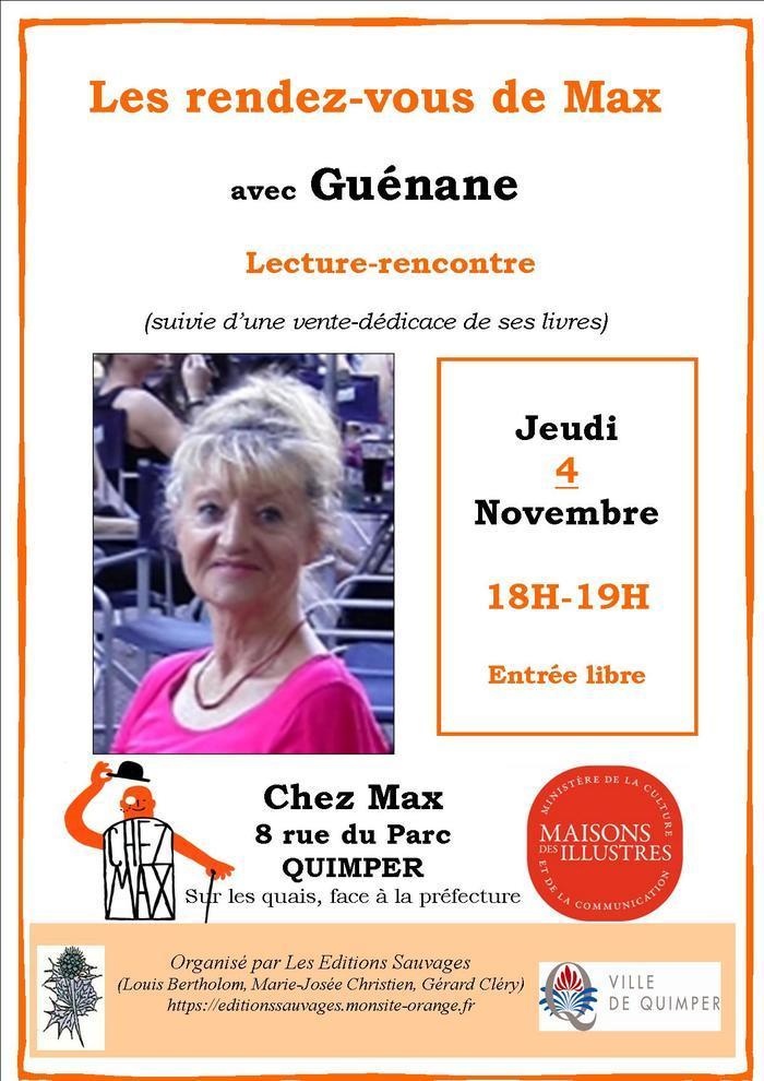 Lecture-rencontre de Guénane, suivie d'une vente-signature de ses livres.