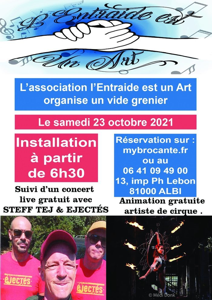 Association L'Entraide est un Art propose un vide-grenier avec un concert de Steff Tej & Ejectés.