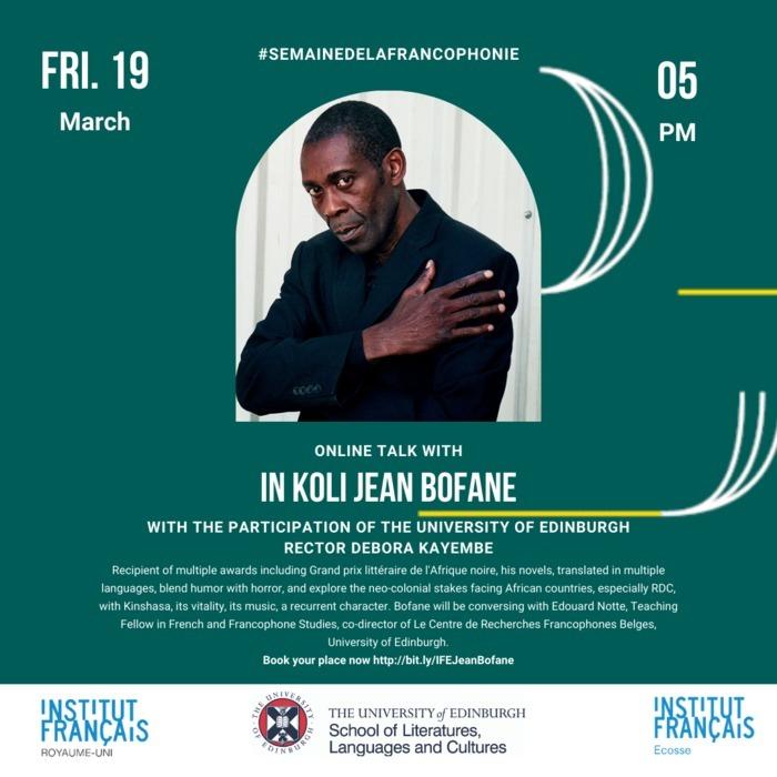 Entretien en ligne avec In Koli Jean Bofane avec la participation de Debora Kayembe, rectrice à l'Université d'Édimbourg