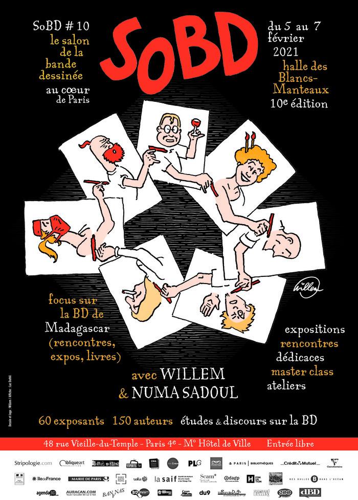 Le Salon de la Bande Dessinée au cœur de Paris, le SoBD tiendra sa 10e édition du 5 au 7 février 2021 à la Halle des Blancs Manteaux. L'accès au salon est gratuit.