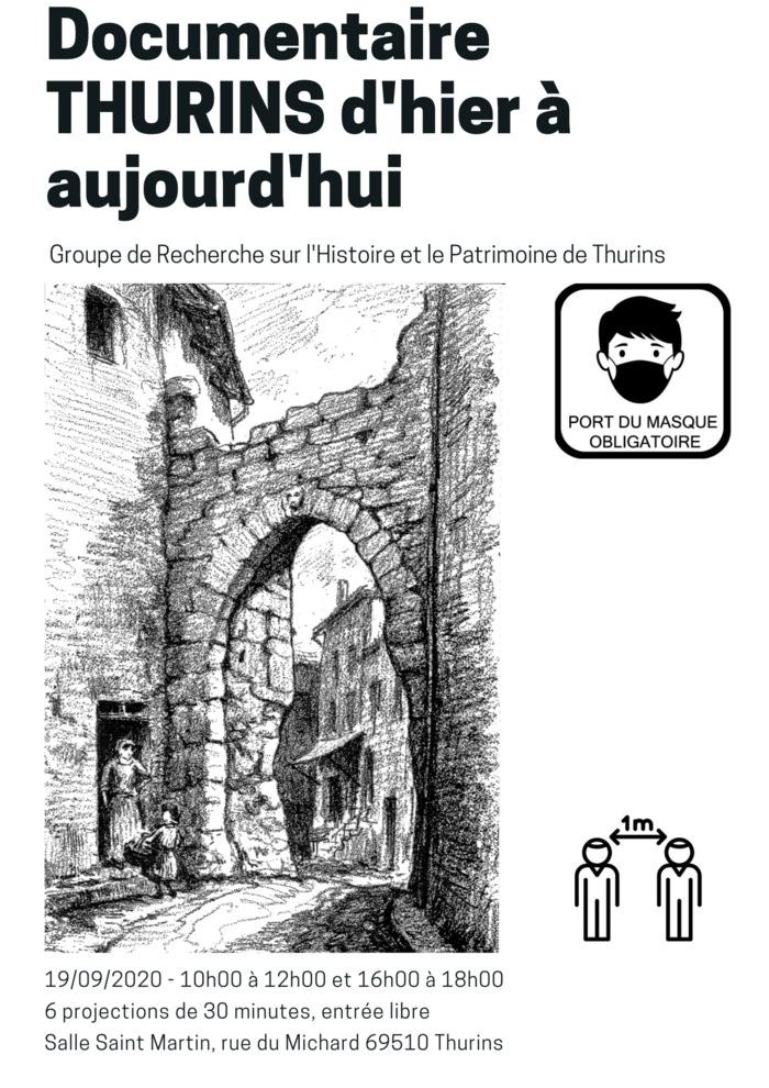 Journées du patrimoine 2020 - Projection d'un documentaire: Thurins d'hier à aujourd'hui