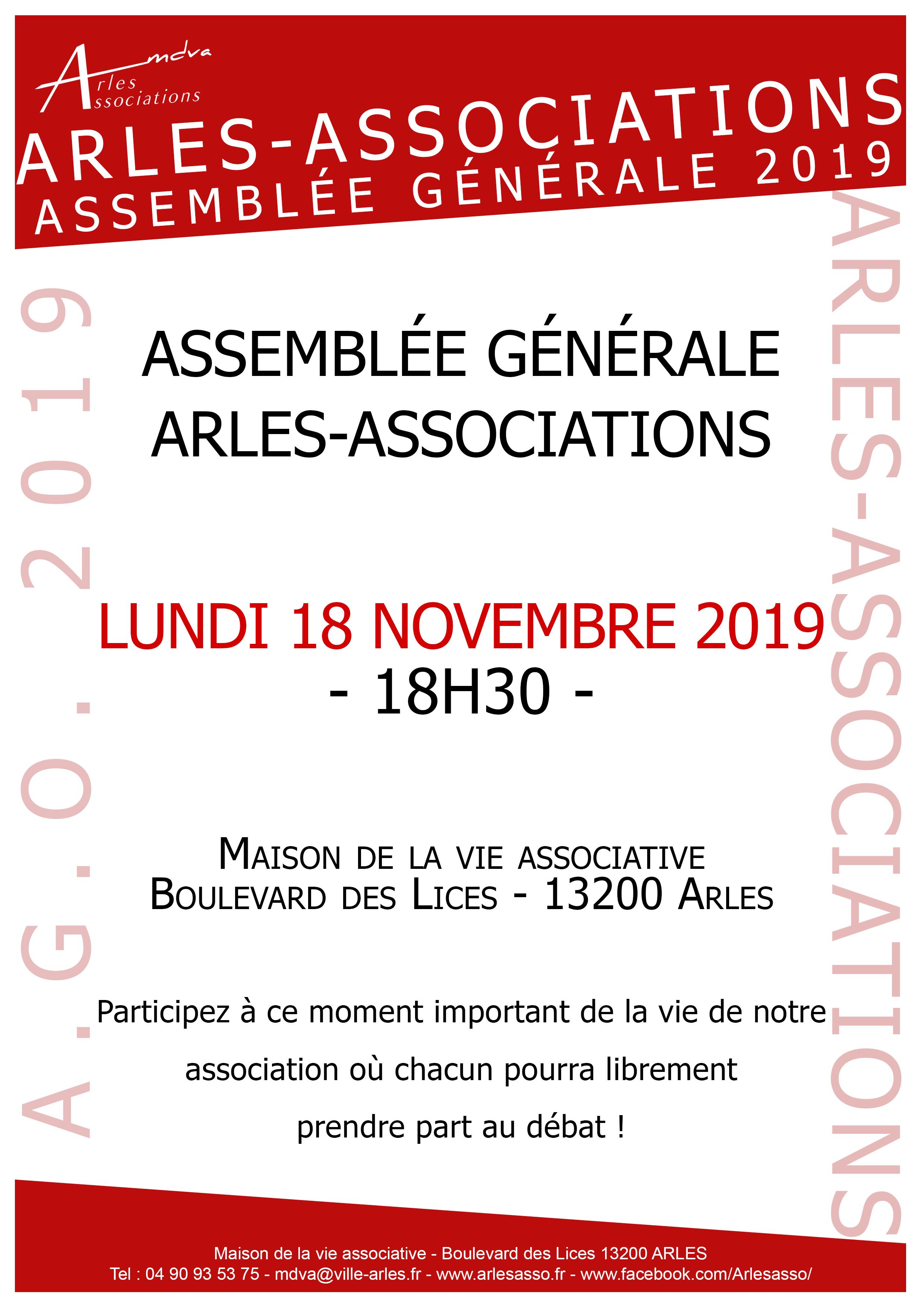 Le lundi 18 Novembre à 18h30 assemblée générale.