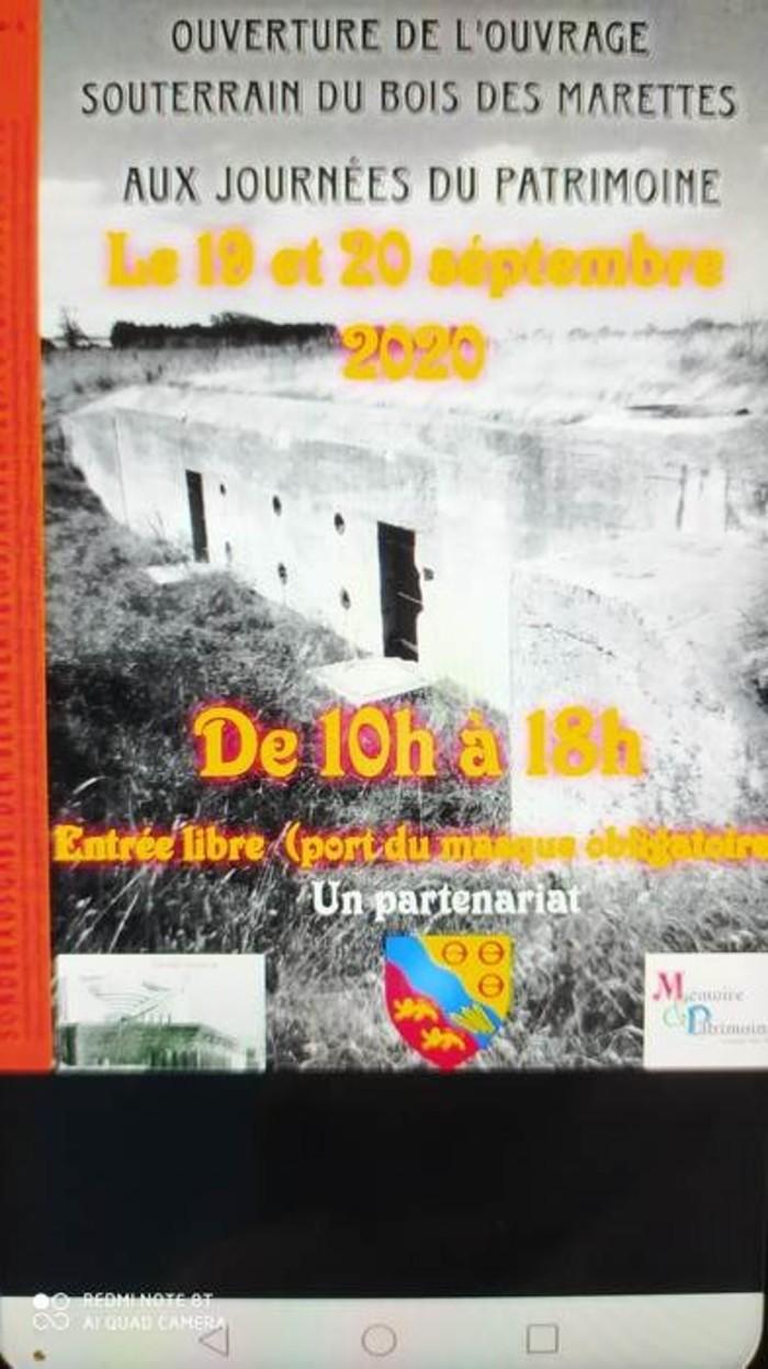 Journées du patrimoine 2020 - Visite libre de l'ouvrage souterrain du Bois des Marettes