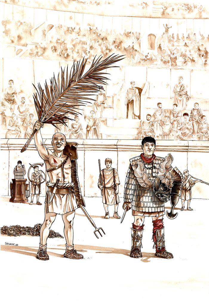 Nuit des musées 2019 -BD et Gladiateurs dans la série Arelate - Exposition colorisée