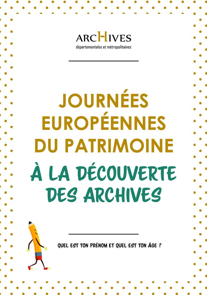 Journées du patrimoine 2019 - Livret-découverte des archives