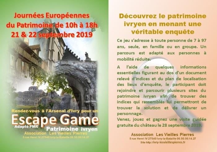 Journées du patrimoine 2019 - Escape game patrimoine ivryen